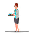 secretary girl in suit carrying a cups of coffee vector image