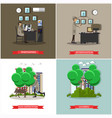 set of investigation posters in flat style vector image vector image