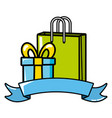shopping bag and gift vector image
