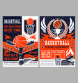 sport tournament in basketball announcement poster vector image vector image