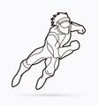 superhero running action cartoon superhero vector image vector image