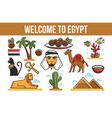 tourism egyptian symbols architecture cuisine and vector image vector image