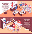 two isometric pet shop banner set vector image vector image