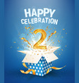 two years anniversary and open gift box with vector image