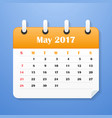 usa calendar for may 2017 week starts on sunday vector image vector image