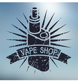 Vape shop logo on blurred background vector image vector image