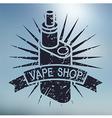 vape shop logo on blurred background vector image vector image