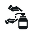washing hands with sanitizer liquid soap vector image