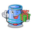 with gift cylinder bucket with handle on cartoon vector image