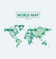 world map in dots in green color silhouette vector image