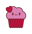 kawaii love cup cake heart valentine vector image