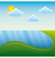 landscape in mountains river sun natural scene vector image