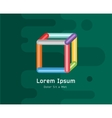 abstract colored 3d box icon isolated