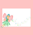 beautiful flying fairy character with pink wings vector image vector image