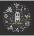black banner winemaking - wine press vector image vector image