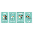 bride and groom cards happy loving couple vector image