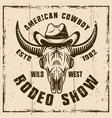 buffalo skull in cowboy hat colored emblem vector image