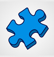 Cartoon puzzle piece icon blue variant