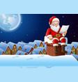cartoon santa claus sitting at chimney and reading vector image vector image