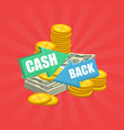 cash back arrows with money vector image vector image