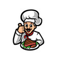 chef cartoon character holding steak vector image