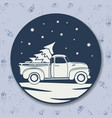 christmas icon vintage pickup truck with vector image vector image