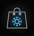 christmas shopping paper bag colorful line vector image