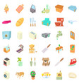 comfortable rest icons set cartoon style vector image vector image