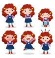 Curly red hair girl showing different emotions