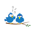 cute acrtoon blue birds couple sitting on the vector image