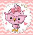cute bird in pink eyeglasses vector image vector image