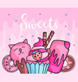 cute funny girl teenager colored icon set sweets vector image