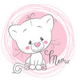 cute white kitten on a pink background vector image vector image