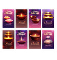 diwali celebration vertical cards vector image