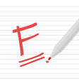 F grade on line paper with red pen vector image