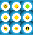 flat icon expression set of descant delicious vector image vector image