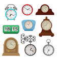 flat set of various types on clocks vector image
