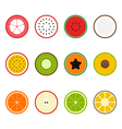 Fruit icon set flat design slice half vector image vector image