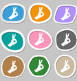 Gesture ok symbols Multicolored paper stickers vector image