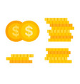 golden coins set flat icon isolated vector image