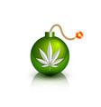 green burning bomb icon with marijuana hemp vector image
