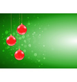 Green Christmas card with shiny red baubles vector image