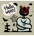 Halloween Devil Cat in straitjacket Cartoon vector image vector image