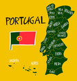 hand drawn stylized map portugal travel of vector image