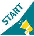 hand holding megaphone with start announcement vector image