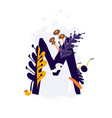 latin letter m in colors and things letter in vector image vector image