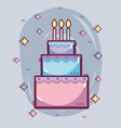 line delicious cake happy birthday celebration vector image vector image