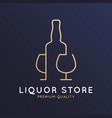 liquor store logo bottle whiskey rum or brandy vector image vector image