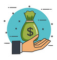 make a donation sign hand with bag money vector image vector image