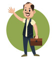 man with suitcase on white background vector image